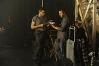 Jake Gyllenhaal and Duncan Jones on the set of ``Source Code.''