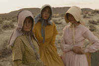 Shirley Henderson as Glory White, Zoe Kazan as Millie Gately and Michelle Williams as Emily Tetherow in ``Meek's Cutoff.''