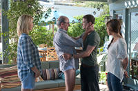 Jenna Elfman as Annie, Richard Jenkins as Mr. Harper, Justin Timberlake as Dylan and Mila Kunis as Jamie in ``Friends with Benefits.''