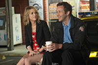 Kristen Wiig as Annie and Chris O'Dowd as Rhodes in ``Bridesmaids.''