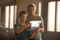 Evangeline Lilly as Bailey Tallet and Hugh Jackman as Charlie Kenton in ``Real Steel.''