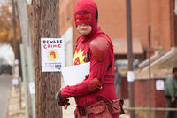 Rainn Wilson as The Crimson Bolt in ``Super.''