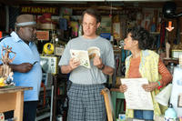 Cedric the Entertainer as Lamar, Tom Hanks as Larry Crowne and Taraji P. Henson in ``Larry Crowne.''