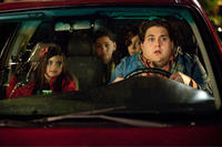 Landry Bender as Blithe, Kevin Hernandez as Rodrigo, Max Records as Slater and Jonah Hill as Noah in ``The Sitter.''