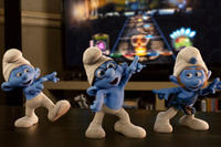 Grouchy Smurf, Brainy Smurf and Gutsy Smurf in ``The Smurfs.''