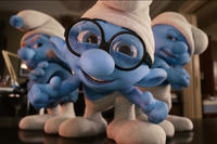 Gutsy Smurf, Brainy Smurf and Grouchy Smurf in ``The Smurfs.''