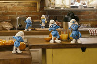 Clumsy Smurf, Grouchy Smurf, Smurfette Smurf, Brainy Smurf and Gutsy Smurf in ``The Smurfs.''