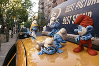 Smurfette Smurf, Brainy Smurf, Grouchy Smurf, Gutsy Smurf and Papa Smurf in ``The Smurfs.''