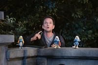 Smurfette Smurf, Neil Patrick Harris as Patrick Winslow, Grouchy Smurf and Clumsy Smurf in ``The Smurfs.''