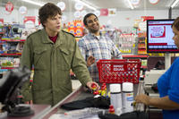 Jesse Eisenberg as Nick and Aziz Ansar as Chet in ``30 Minutes or Less.''