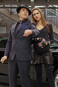 Jeremy Piven as Timekeeper and Jessica Alba as Marissa Cortez Wilson in ``Spy Kids: All the Time in the World.''