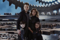 Joel McHale as Wilbur Wilson and Jessica Alba as Marissa Cortez Wilson, Mason Cook as Cecil Wilson and Rowan Blanchard as Rebecca Wilson in``Spy Kids: All the Time in the World.''