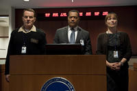 Bryan Cranston as Lyle Haggerty, Laurence Fishburner as Dr. Ellis Cheever and Jennifer Ehle as Dr. Ally Hextall in ``Contagion.''