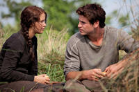 Jennifer Lawrence as Katniss Everdeen and Liam Hemsworth as Gale Hawthorne in