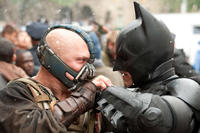 Tom Hardy as Bane and Christian Bale as Batman in ``The Dark Knight Rises.''