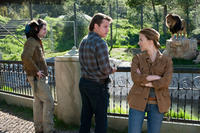 Patrick Fugit as Robin Jones, Matt Damon as Benjamin Mee and Scarlett Johansson as Kelly Foster in ``We Bought a Zoo.''