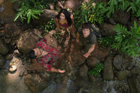 Luis Guzman as Gabato, Vanessa Hudgens as Kailani and Josh Hutcherson as Sean in ``Journey 2: The Mysterious Island.''