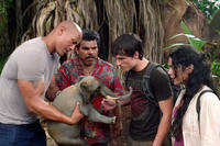 Dwayne Johnson as Hank, Luis Guzman as Gabato, Josh Hutcherson as Sean and Vanessa Hudges as Kailani in ``Journey 2: The Mysterious Island.''