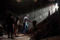 Luis Guzman as Gabato, Vanessa Hudges as Kailani, Dwayne Johnson as Hank and Josh Hutcherson as Sean in ``Journey 2: The Mysterious Island.''