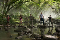 Luis Guzman as Gabato, Vanessa Hudgens as Kailani, Michael Caine as Alexander, Dwayne Johnson as Hank and Josh Hutcherson as Sean in ``Journey 2: The Mysterious Island.''