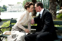 Keira Knightley as Sabina Spielrein and Michael Fassbender as Carl Jung in ``A Dangerous Method.''