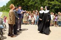 Sean Hayes as Larry, Chris Diamantopoulos as Moe, Will Sasso as Curly, Kate Upton as Sister Bernice and Jane Lynch as Mother Superior in ``The Three Stooges.''