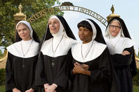 Kate Upton as Sister Bernice, Jane Lynch as Mother Superior, Jennifer Hudson as Sister Rosemary and Larry David as Sister Mary-Mengele in ``The Three Stooges.''