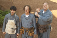 Chris Diamantopoulos as Moe, Sean Hayes as Larry and Will Sasso as Curly in ``The Three Stooges.''