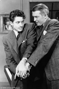 Farley Granger and James Stewart in Alfred Hitchcock's