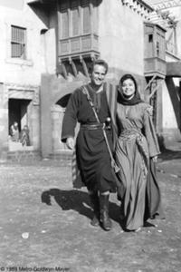 Charlton Heston pictured here on the film's set in Rome with Haya Harareet (right), who played Esther.
