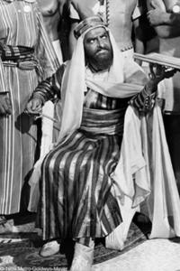 Hugh Griffith portrays Sheik Ilderim in the film