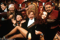 John Leguizamo (as Toulouse-Lautrec), Garry McDonald, Matthew Whittet, Jim Broadbent, Nicole Kidman and Jacek Koman in a scene from Moulin Rouge.