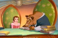 Belle discovers a gentle and sensitive side to the Beast (right), her