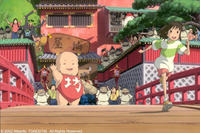 Yubaba's giant baby boy, Boh, and the workers at the bathhouse give Chihiro a big send off.