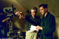 Director David Cronenberg with star Ralph Fiennes on the set of