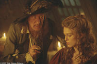 After kidnapping Elizabeth (Keira Knightley), Captain Barbossa (Geoffrey Rush) vividly describes to her the curse that torments him and that can only be broken with her help in