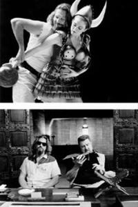 Top: (Left to right) The Dude (JEFF BRIDGES) has a vivid dream that includes Maude (JULiANNE MOORE) as a bowling goddess. Bottom: (Left to right) JEFF BRIDGES and JOHN GOODMAN.
