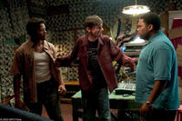 Terrence Howard as DJay, DJ Qualls as Shelby and Anthony Anderson as Key in a scene set in a makeshift recording studio in