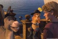 Donkey (Eddie Murphy) and Puss In Boots (Antonio Banderas) set sail with Artie (Justin Timberlake) in