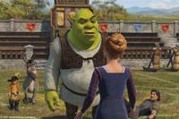 Shrek (Mike Myers) receives interesting news as Puss In Boots (Antonio Banderas), Donkey (Eddie Murphy) and Lancelot (John Krasinski) look on in