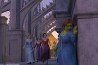 Princess Fiona (Cameron Diaz) along with obsessive-compulsive Cinderella (Amy Sedaris), Doris, the Ugly Stepsister (Larry King), prissy-but-sarcastic Snow White (Amy Poehler) and narcoleptic Sleeping Beauty (Cheri Oteri) in