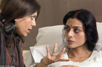 Director Mira Nair and Tabu on the set of