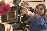 Director Mira Nair on the set of