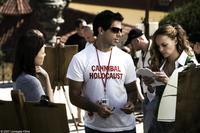 Lauren German,  director Eli Roth and Vera Jordanova on the set of