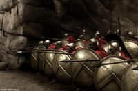 Captain (Vincent Regan), Leonidas (Gerard Butler) and Stelios (Michael Fassbender) take their places at the front of the deadly Spartan phalanx in