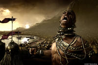 King Xerxes (Rodrigo Santoro) vents his rage at the losses sustained by his army while facing 300 Spartans in