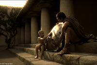 Leonidas' Father (Tim Connolly) teaches his young son (Eli Snyder) the importance of a Spartan shield in