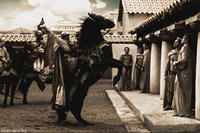 The Messenger (Peter Mensah) arrives in Sparta to deliver Xerxes' message in
