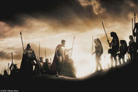 The 300, led by Leonidas (Gerard Butler), meet up with their allies, the Arcadians, led by Daxos (Andrew Pleavin) in