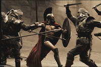 Leonidas (Gerard Butler) fights his way through the first wave of Persian infantry in